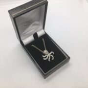 Sterling silver cubic zirconia octopus pendant and chain