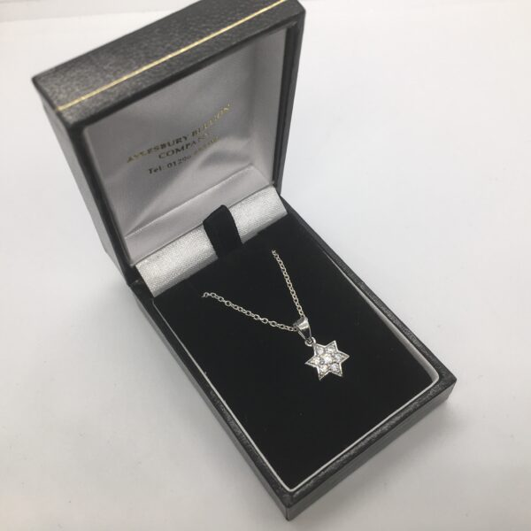 Sterling silver cubic zirconia star pendant on a chain