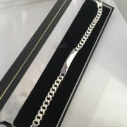 Sterling silver curb bracelet with ID plate