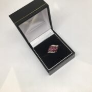 Preowned 9 carat yellow gold ruby and diamond ring