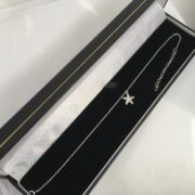 Sterling silver cubic zirconia star anklet