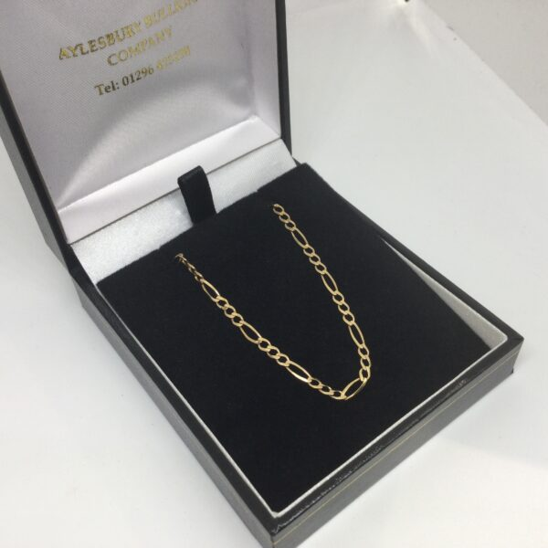Preowned 9 carat yellow got figaro chain