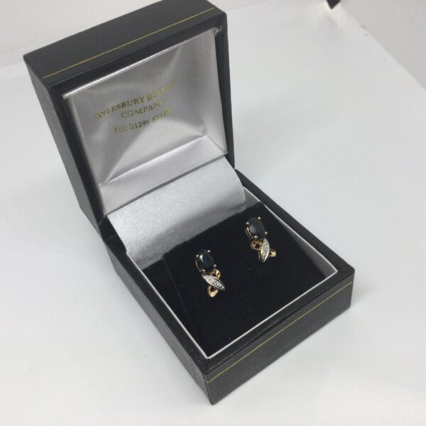 Preowned 9 carat sapphire and diamond earrings