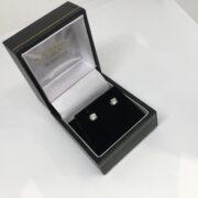 Preowned 18 carat white gold diamond set earrings