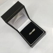 Preowned 9 carat white gold diamond crossover ring