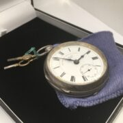 Preowned sterling silver open face pocket watch
