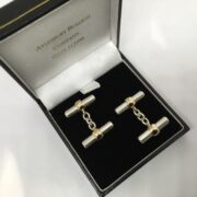 Sterling silver and 9 carat gold toggle cufflinks