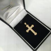 Preowned 9 carat yellow gold diamond set cross pendant