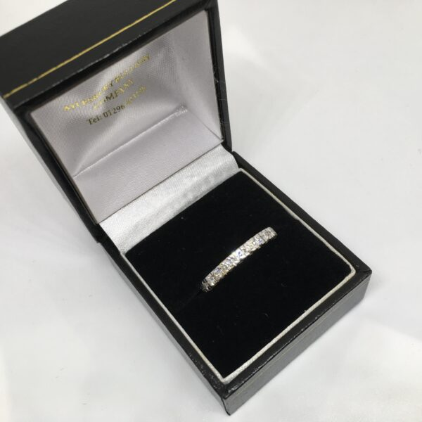 Preowned 18 carat white gold full diamond eternity ring