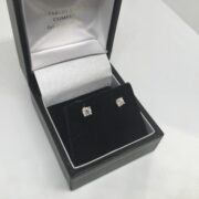 9 carat yellow gold diamond set stud earrings