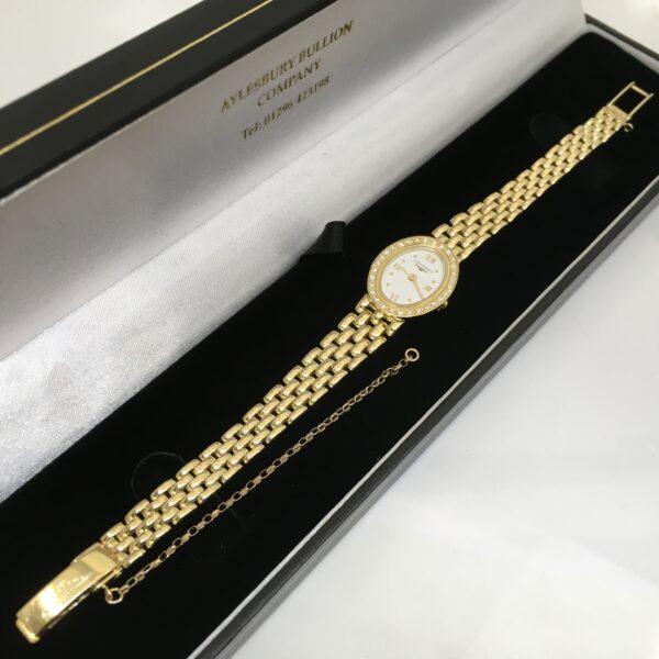 Preowned 18 carat yellow gold diamond set Longines watch