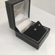 Preowned 9 carat white gold single stone diamond stud earrings
