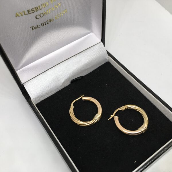 Preowned 9 carat yellow and rose gold hoop earrings