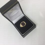 Preowned 9 carat yellow gold cornelian signet ring