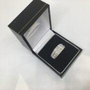 9 carat white gold diamond set gents ring