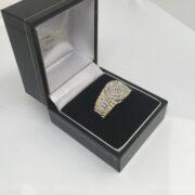 9 carat two colour gold diamond set gents rings