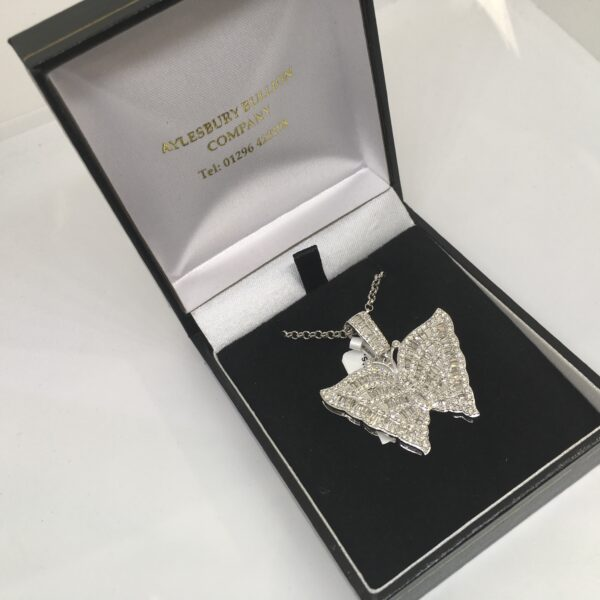 9 carat white gold diamond set butterfly pendant and chain