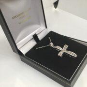 9 carat white gold diamond cross pendant and chain