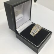 9 carat two colour gold diamond set gents ring