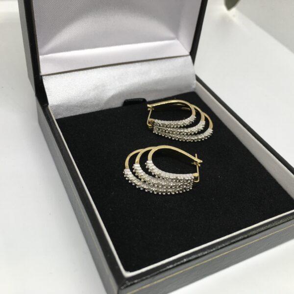 Preowned 9 carat yellow gold diamond set hoop earrings