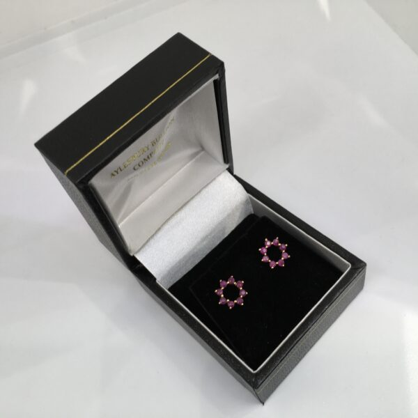 Preowned 9 carat yellow gold ruby stud earrings