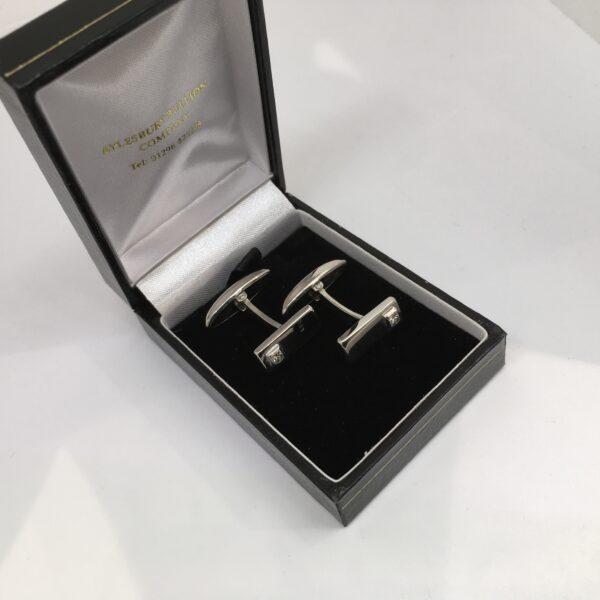 Preowned 9 carat white gold diamond cufflinks