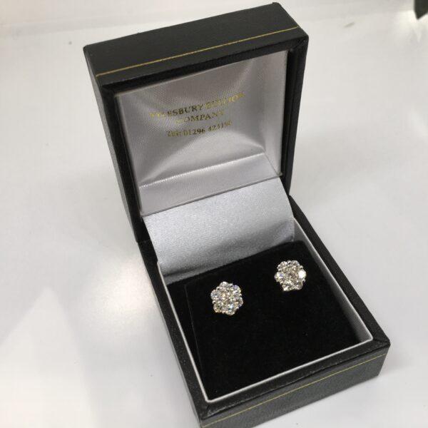 9 carat white gold diamond cluster earrings