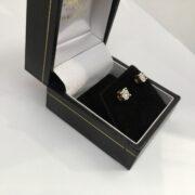 Preowned 9 carat yellow gold diamond stud earrings