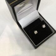 9 carat white gold single stone diamond stud earrings