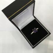 18 carat yellow gold amethyst and diamond ring