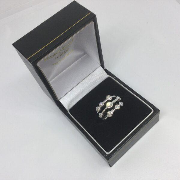 18 carat white gold diamond scatter ring