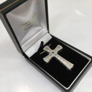 9 carat white gold diamond cross and chain