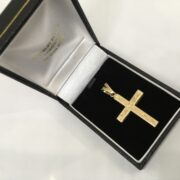 Preowned 9 carat yellow gold cross pendant