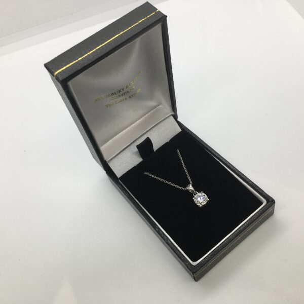 Preowned 18 carat white gold diamond pendant and chain