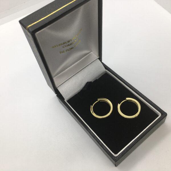 9 carat yellow gold hinged huggie hoop earrings