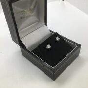 18 carat white gold single stone diamond stud earrings