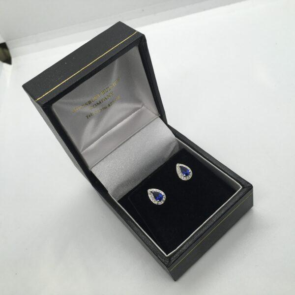 9 carat white gold sapphire and diamond stud earrings
