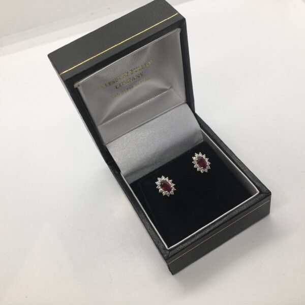 9 carat white gold ruby and diamond cluster stud earrings