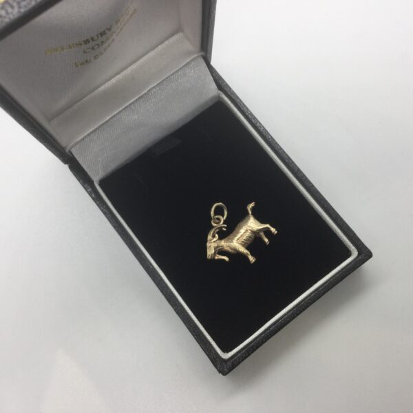 Preowned 9 carat yellow gold goat charm